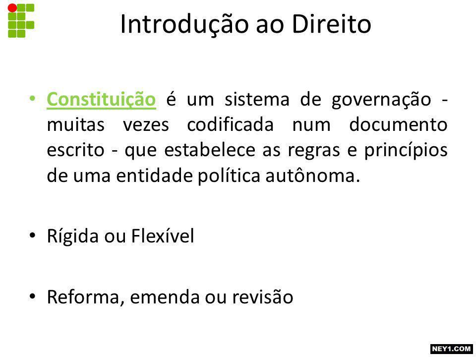 Constituição é um sistema de governação - muitas vezes codificada num documento escrito - que estabelece as regras e princípios de uma entidade política autônoma.
