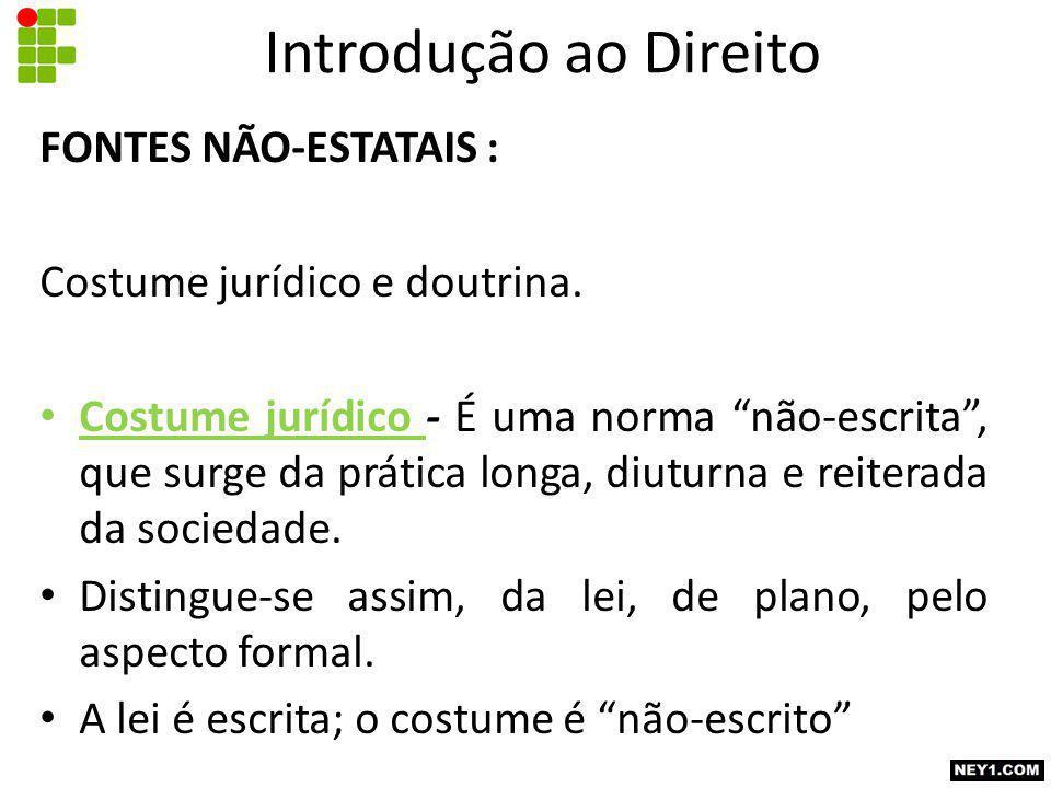 FONTES NÃO-ESTATAIS : Costume jurídico e doutrina.