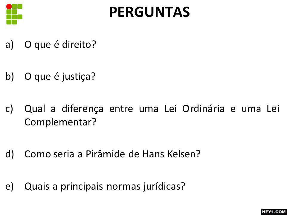 a)O que é direito.b)O que é justiça.