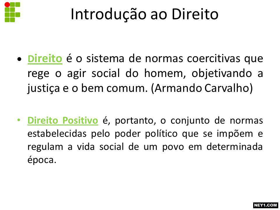  D ireito é o sistema de normas coercitivas que rege o agir social do homem, objetivando a justiça e o bem comum.