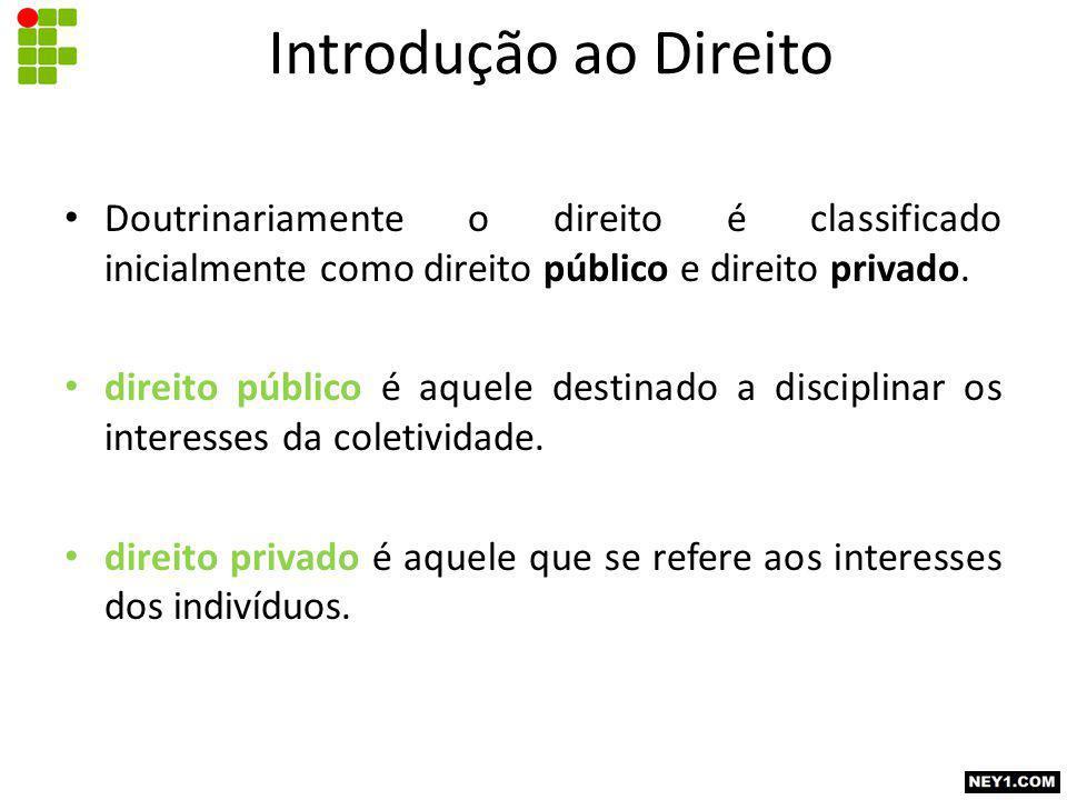 Doutrinariamente o direito é classificado inicialmente como direito público e direito privado.