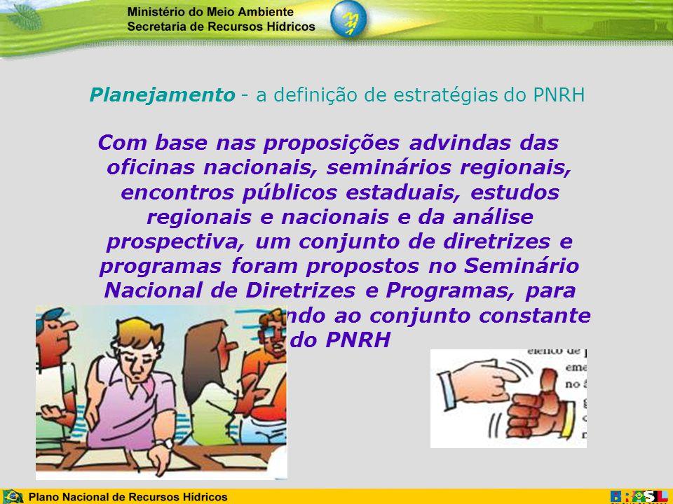 Planejamento - a definição de estratégias do PNRH Com base nas proposições advindas das oficinas nacionais, seminários regionais, encontros públicos e
