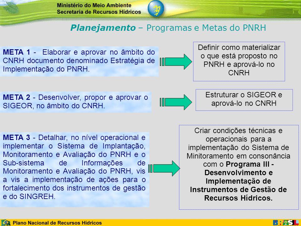 META 1 - Elaborar e aprovar no âmbito do CNRH documento denominado Estratégia de Implementação do PNRH. META 2 - Desenvolver, propor e aprovar o SIGEO