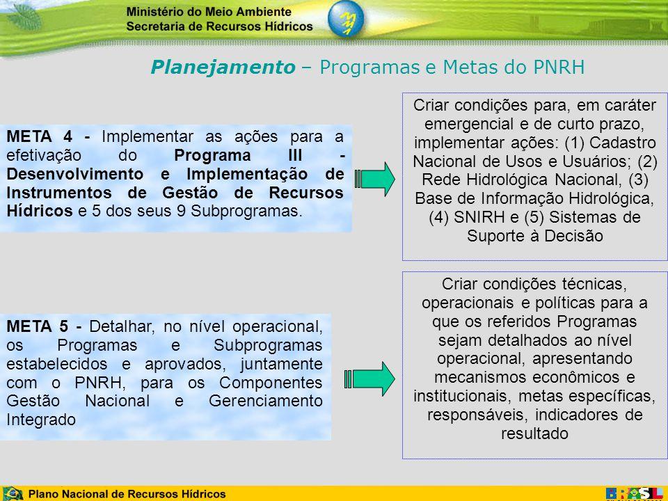 META 4 - Implementar as ações para a efetivação do Programa III - Desenvolvimento e Implementação de Instrumentos de Gestão de Recursos Hídricos e 5 d