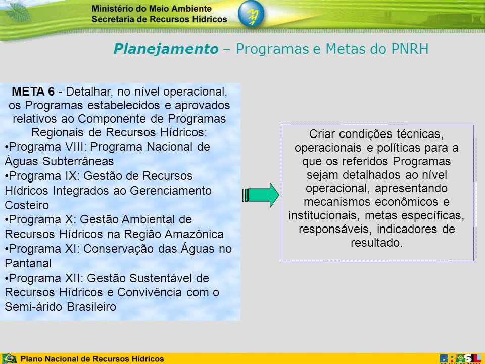 META 6 - Detalhar, no nível operacional, os Programas estabelecidos e aprovados relativos ao Componente de Programas Regionais de Recursos Hídricos: P