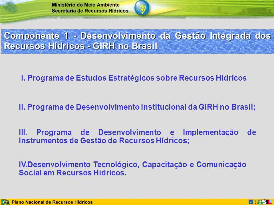 Componente 1 - Desenvolvimento da Gestão Integrada dos Recursos Hídricos - GIRH no Brasil IV.Desenvolvimento Tecnológico, Capacitação e Comunicação So
