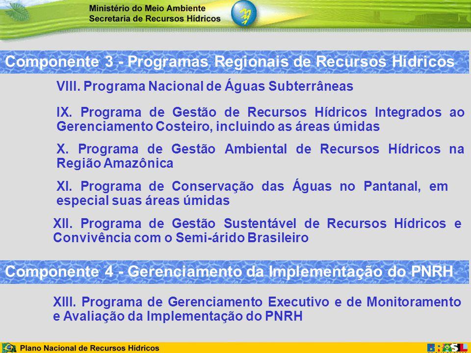 Componente 3 - Programas Regionais de Recursos Hídricos XI. Programa de Conservação das Águas no Pantanal, em especial suas áreas úmidas IX. Programa
