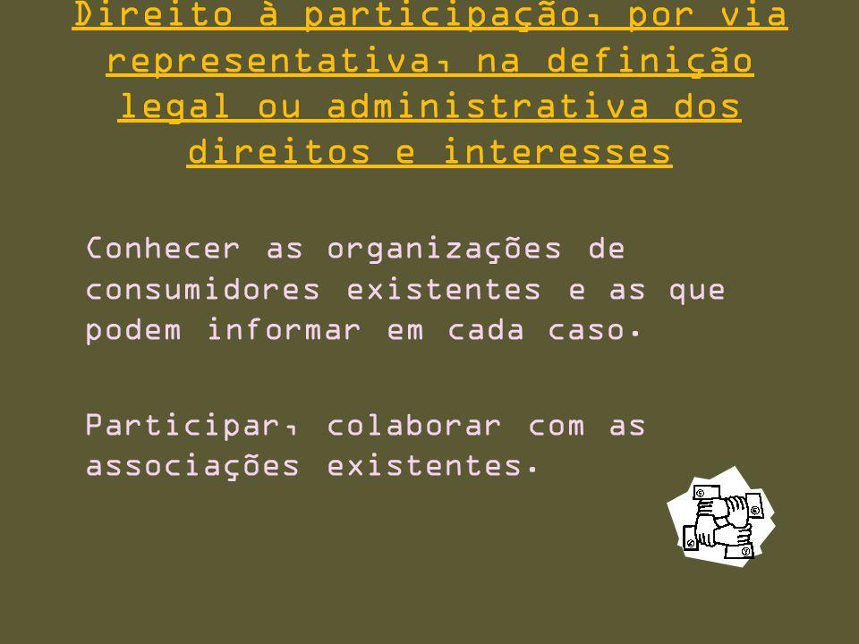 Direito à participação, por via representativa, na definição legal ou administrativa dos direitos e interesses Conhecer as organizações de consumidores existentes e as que podem informar em cada caso.