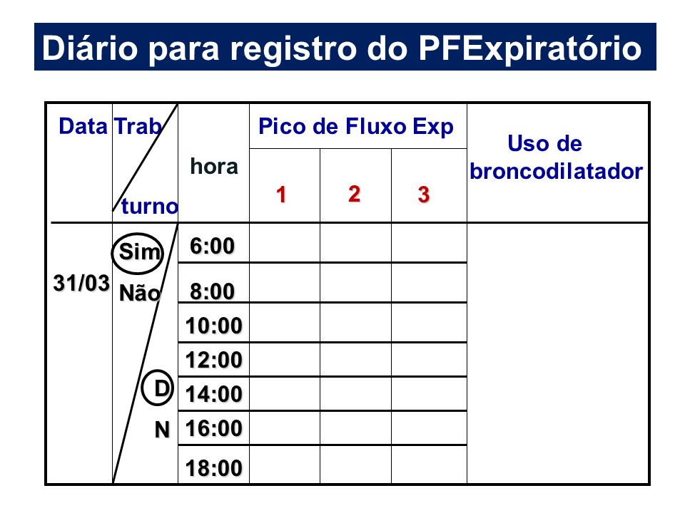 Data Trab turno hora Pico de Fluxo Exp 1 2 3 Uso de broncodilatador 31/03 SimNão DN 6:00 8:00 10:00 12:00 14:00 16:00 18:00 Diário para registro do PF