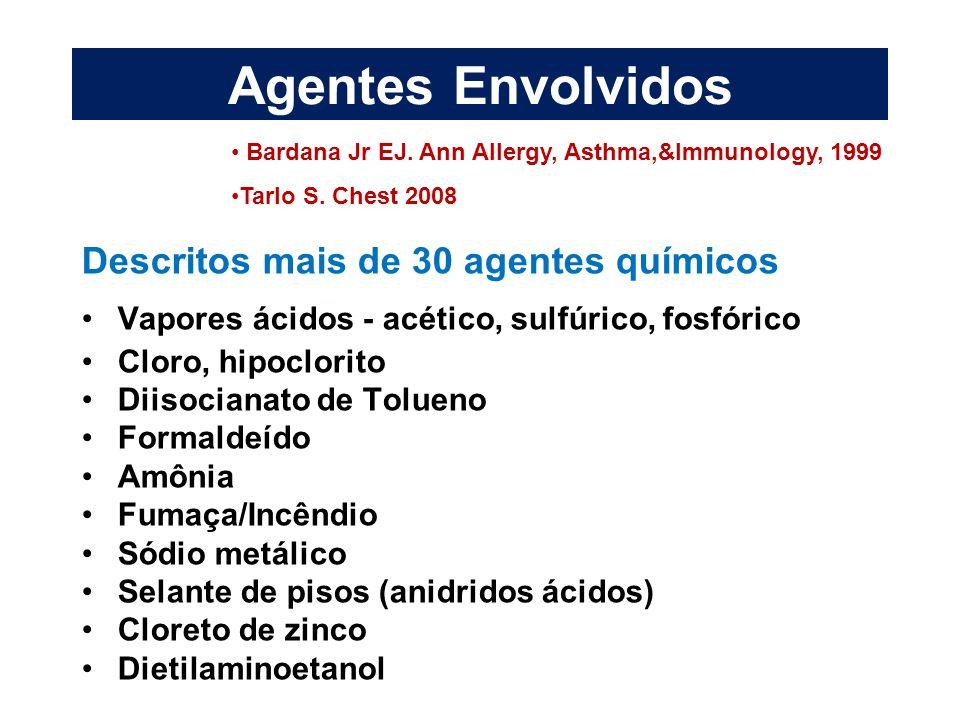 Agentes Envolvidos Descritos mais de 30 agentes químicos Vapores ácidos - acético, sulfúrico, fosfórico Cloro, hipoclorito Diisocianato de Tolueno For