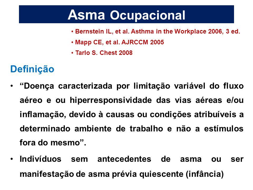 """Asma Ocupacional Definição """"Doença caracterizada por limitação variável do fluxo aéreo e ou hiperresponsividade das vias aéreas e/ou inflamação, devid"""