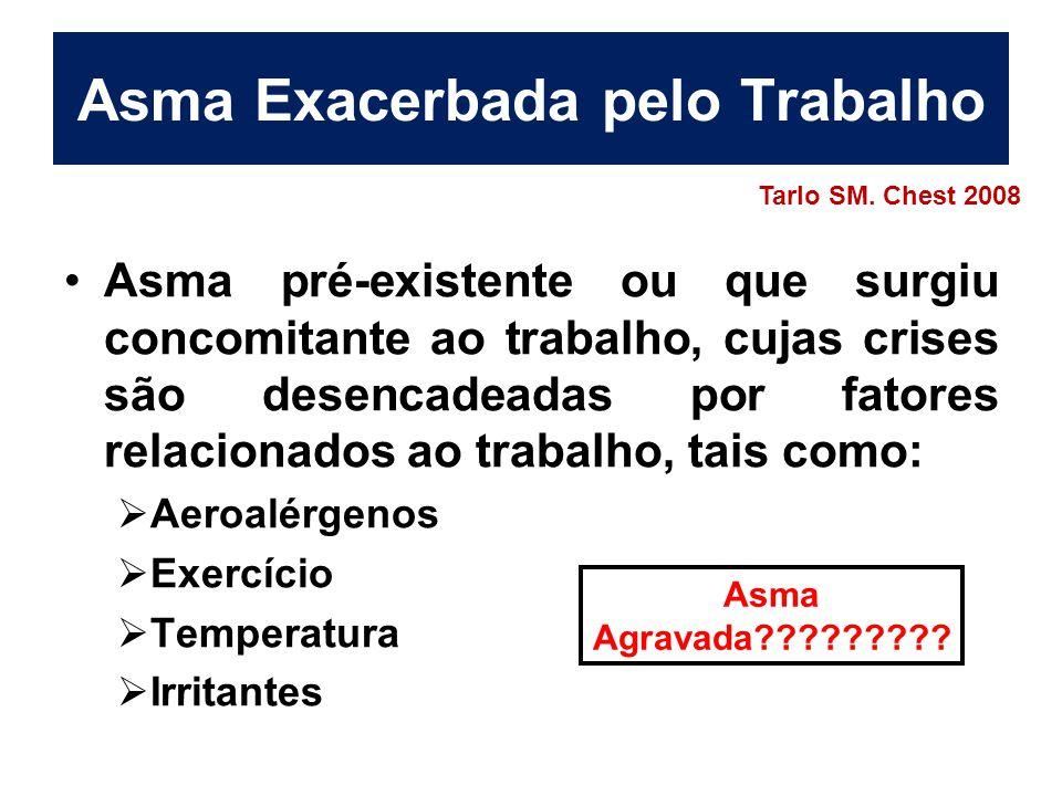 Asma Ocupacional- Epidemiologia Prevalência 15 a 20% asma iniciada no adulto*  85 - 90% Asma Imunológica**  10 - 15% Asma induzida por irritantes Incidência anual 13 países, 28 centros, população entre 20-44 anos –250-300 casos/milhão pessoas/ano *Torén K e Blanc PD.