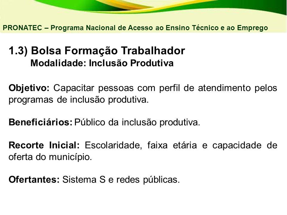 1.3) Bolsa Formação Trabalhador Modalidade: Inclusão Produtiva Objetivo: Capacitar pessoas com perfil de atendimento pelos programas de inclusão produ