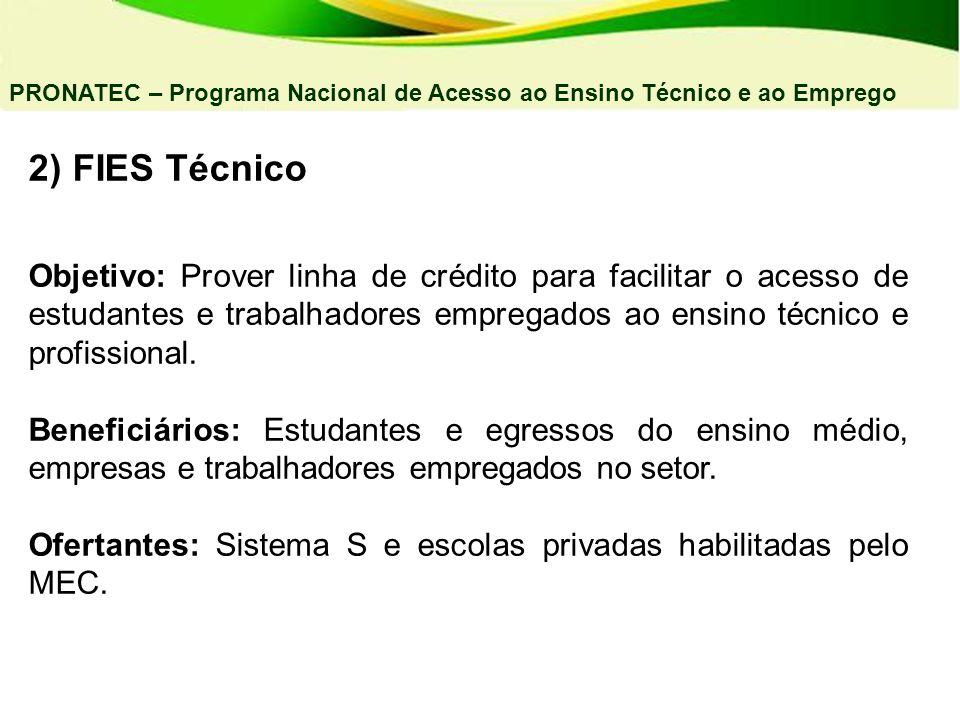 2) FIES Técnico Objetivo: Prover linha de crédito para facilitar o acesso de estudantes e trabalhadores empregados ao ensino técnico e profissional. B
