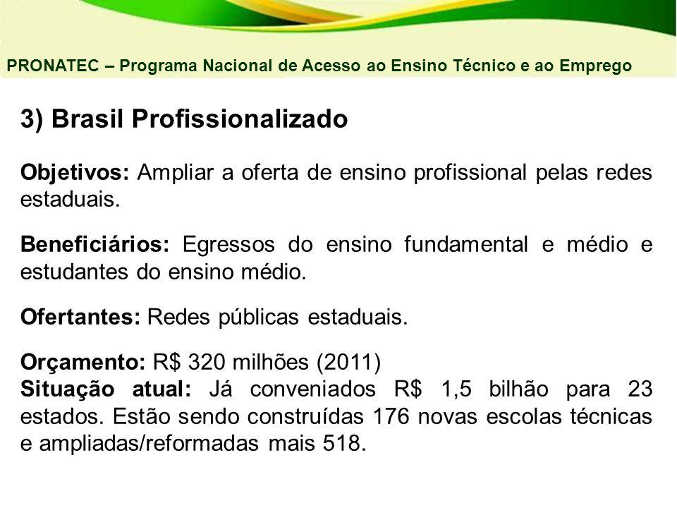 3) Brasil Profissionalizado Objetivos: Ampliar a oferta de ensino profissional pelas redes estaduais. Beneficiários: Egressos do ensino fundamental e