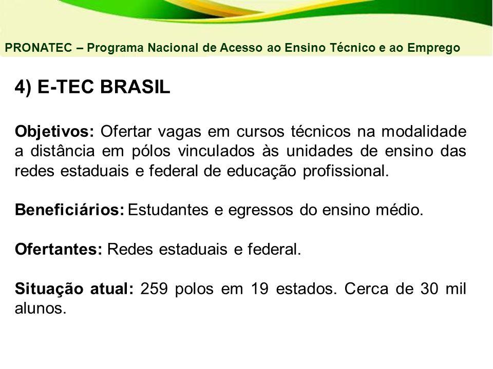 4) E-TEC BRASIL Objetivos: Ofertar vagas em cursos técnicos na modalidade a distância em pólos vinculados às unidades de ensino das redes estaduais e