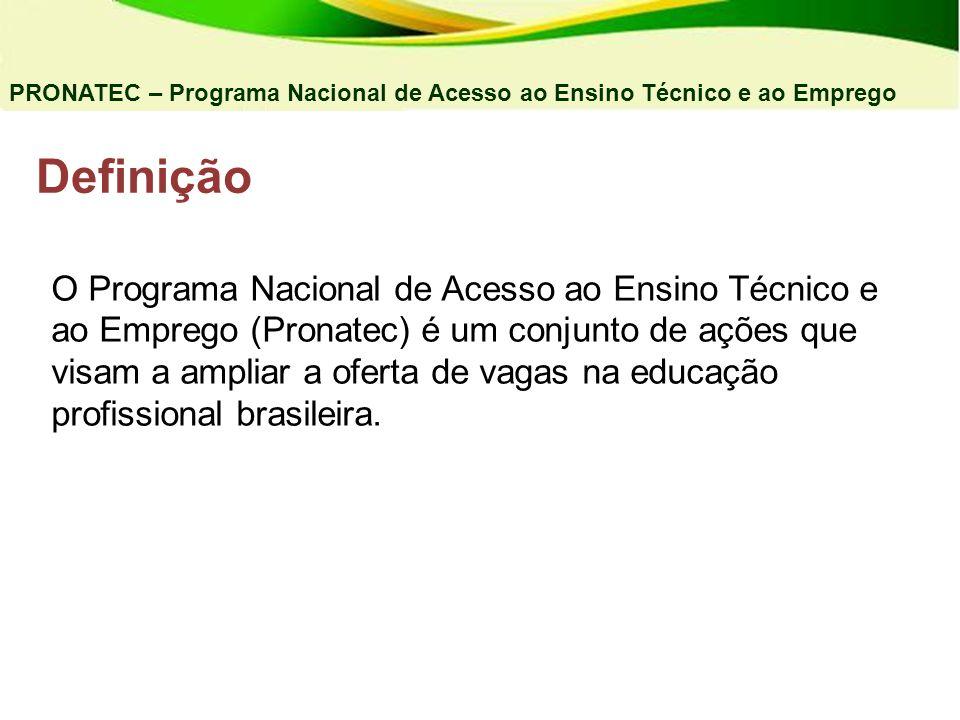 Definição PRONATEC – Programa Nacional de Acesso ao Ensino Técnico e ao Emprego O Programa Nacional de Acesso ao Ensino Técnico e ao Emprego (Pronatec