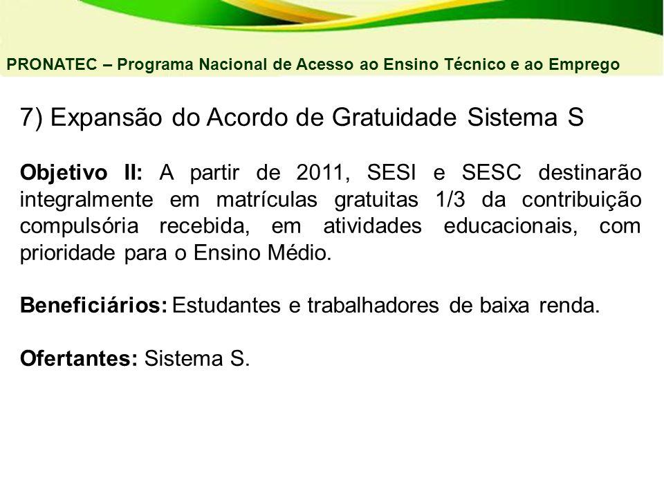 7) Expansão do Acordo de Gratuidade Sistema S Objetivo II: A partir de 2011, SESI e SESC destinarão integralmente em matrículas gratuitas 1/3 da contr