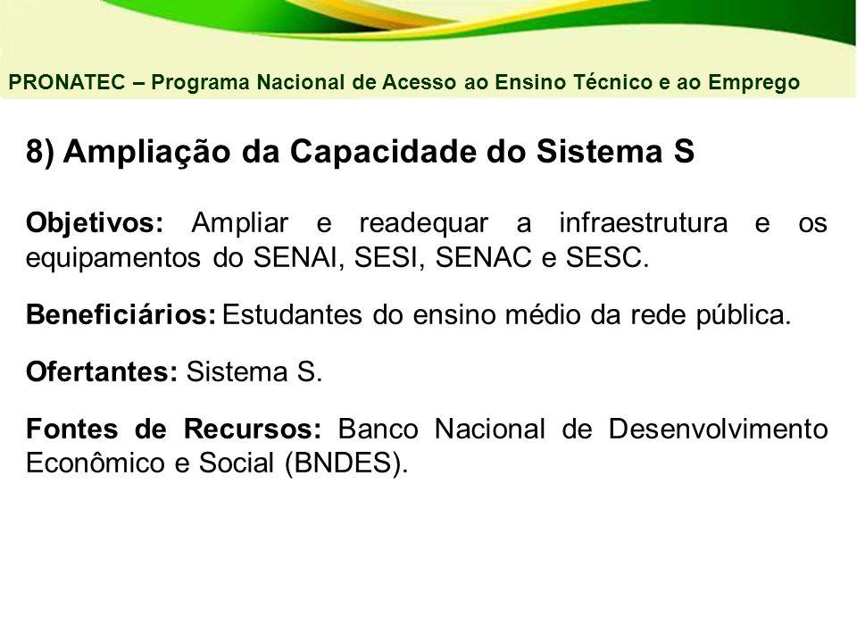 8) Ampliação da Capacidade do Sistema S Objetivos: Ampliar e readequar a infraestrutura e os equipamentos do SENAI, SESI, SENAC e SESC. Beneficiários: