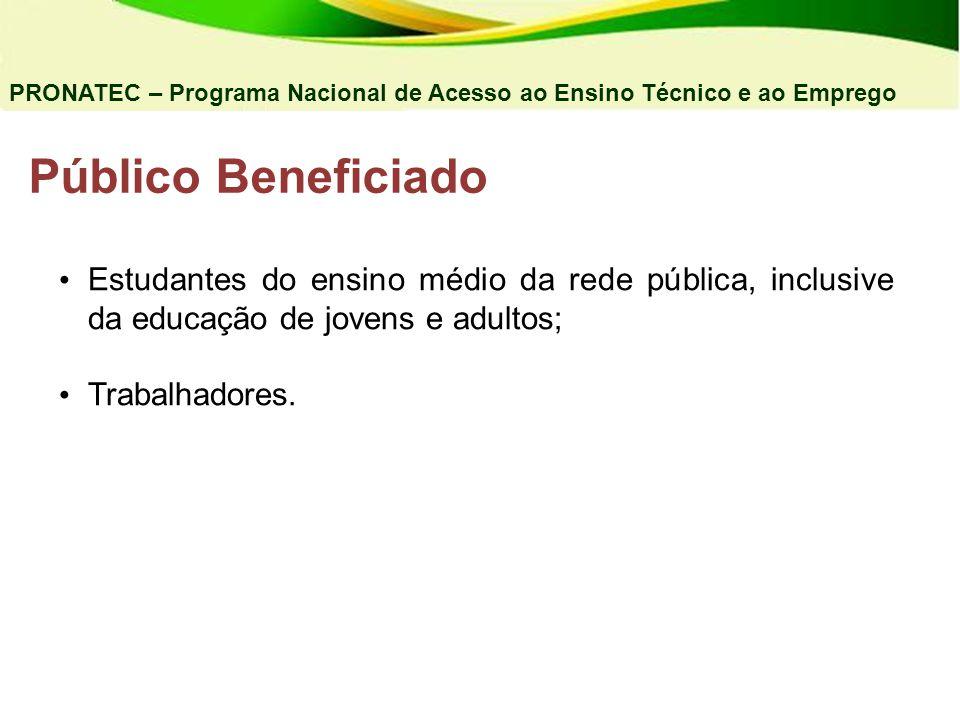 Público Beneficiado Estudantes do ensino médio da rede pública, inclusive da educação de jovens e adultos; Trabalhadores. PRONATEC – Programa Nacional