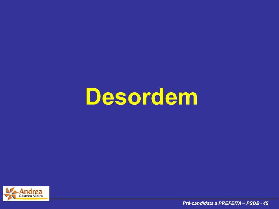 Pré-candidata a PREFEITA – PSDB - 45 Desordem