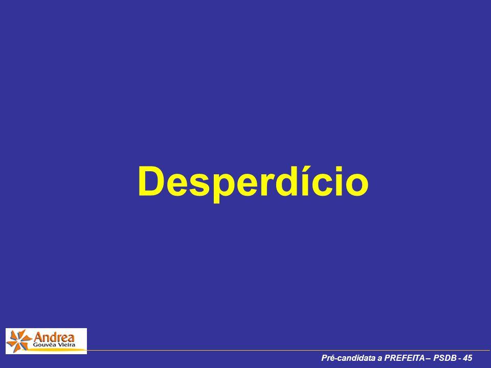 Pré-candidata a PREFEITA – PSDB - 45 Desperdício