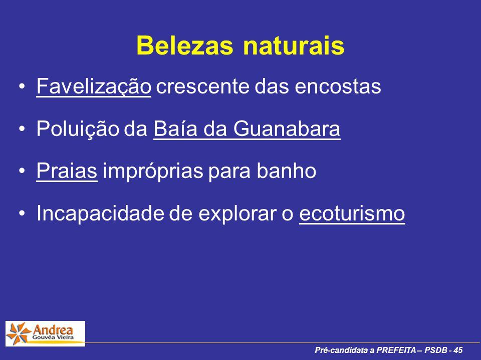 Pré-candidata a PREFEITA – PSDB - 45 Belezas naturais Favelização crescente das encostas Poluição da Baía da Guanabara Praias impróprias para banho Incapacidade de explorar o ecoturismo