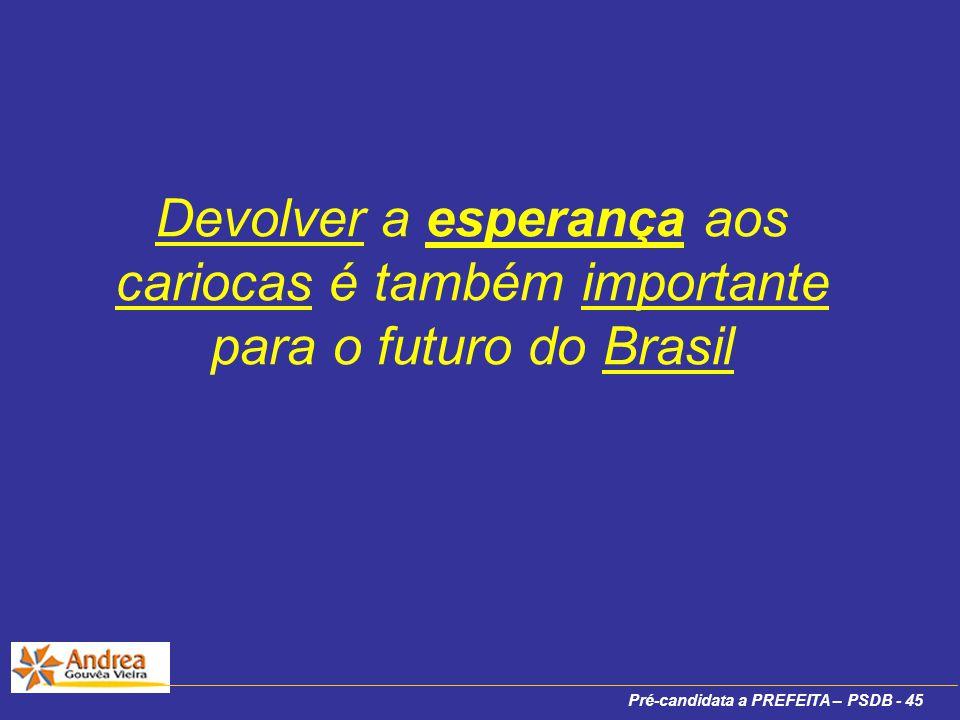 Pré-candidata a PREFEITA – PSDB - 45 Devolver a esperança aos cariocas é também importante para o futuro do Brasil