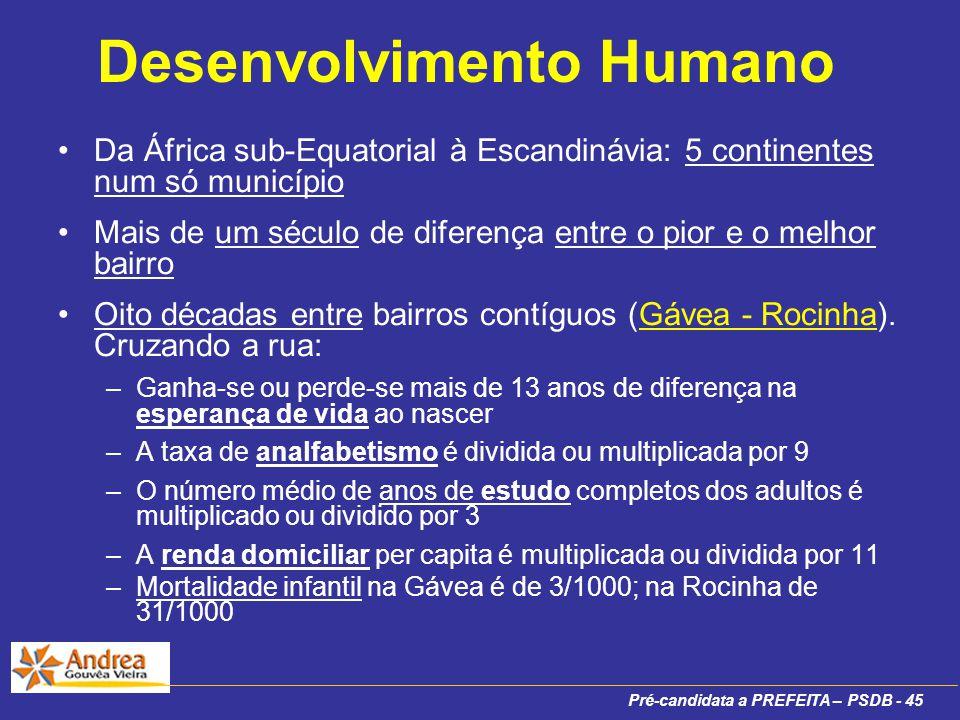 Pré-candidata a PREFEITA – PSDB - 45 Desenvolvimento Humano Da África sub-Equatorial à Escandinávia: 5 continentes num só município Mais de um século de diferença entre o pior e o melhor bairro Oito décadas entre bairros contíguos (Gávea - Rocinha).