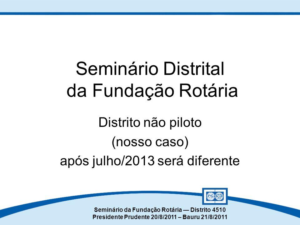 Seminário da Fundação Rotária — Distrito 4510 Presidente Prudente 20/8/2011 – Bauru 21/8/2011 Seminário Distrital da Fundação Rotária Distrito não pil