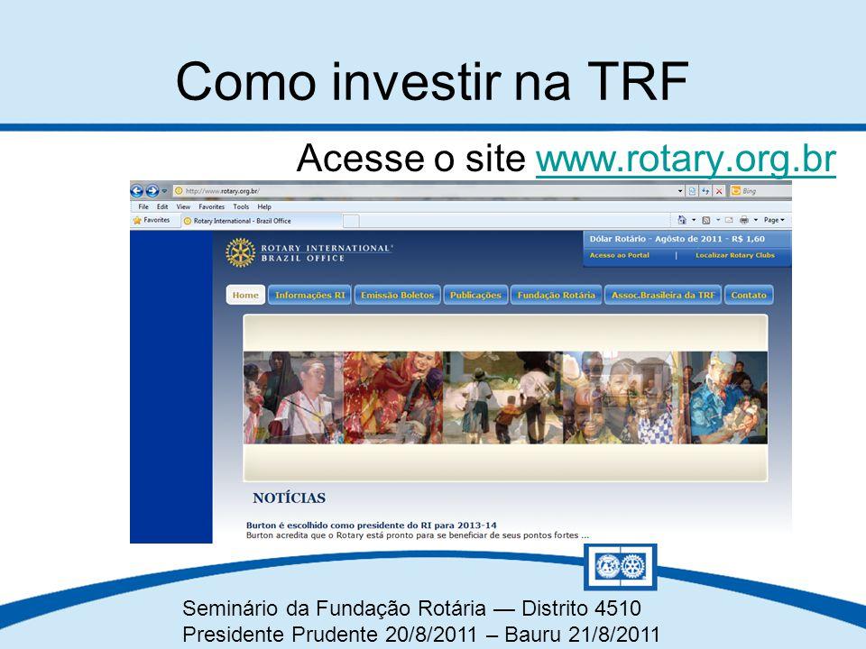 Seminário da Fundação Rotária — Distrito 4510 Presidente Prudente 20/8/2011 – Bauru 21/8/2011 Acesse o site www.rotary.org.brwww.rotary.org.br Como in