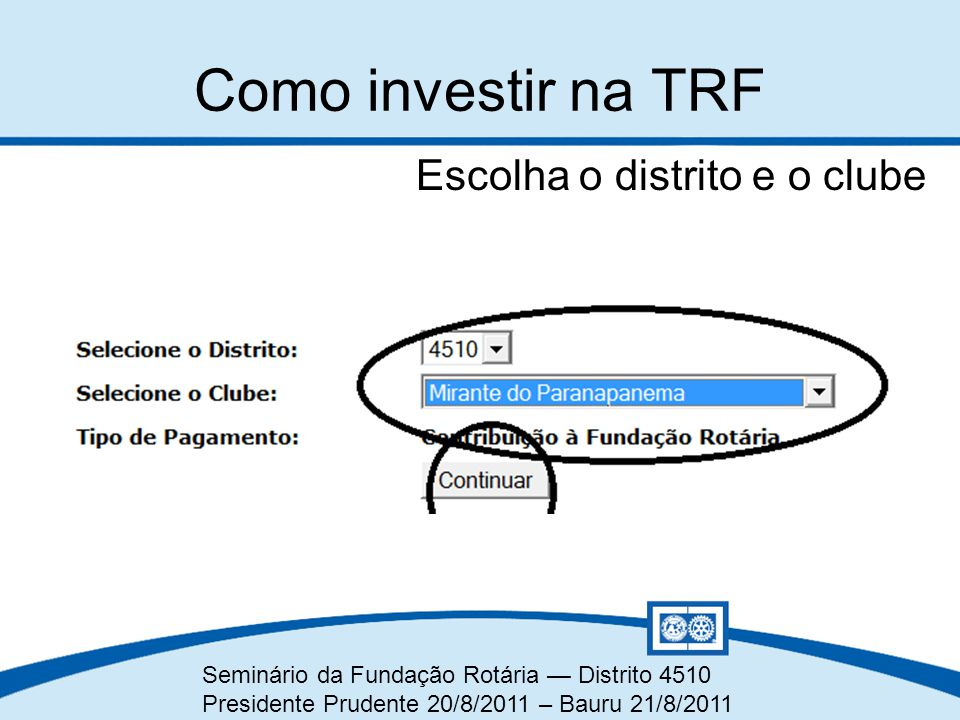 Seminário da Fundação Rotária — Distrito 4510 Presidente Prudente 20/8/2011 – Bauru 21/8/2011 Escolha o distrito e o clube Como investir na TRF