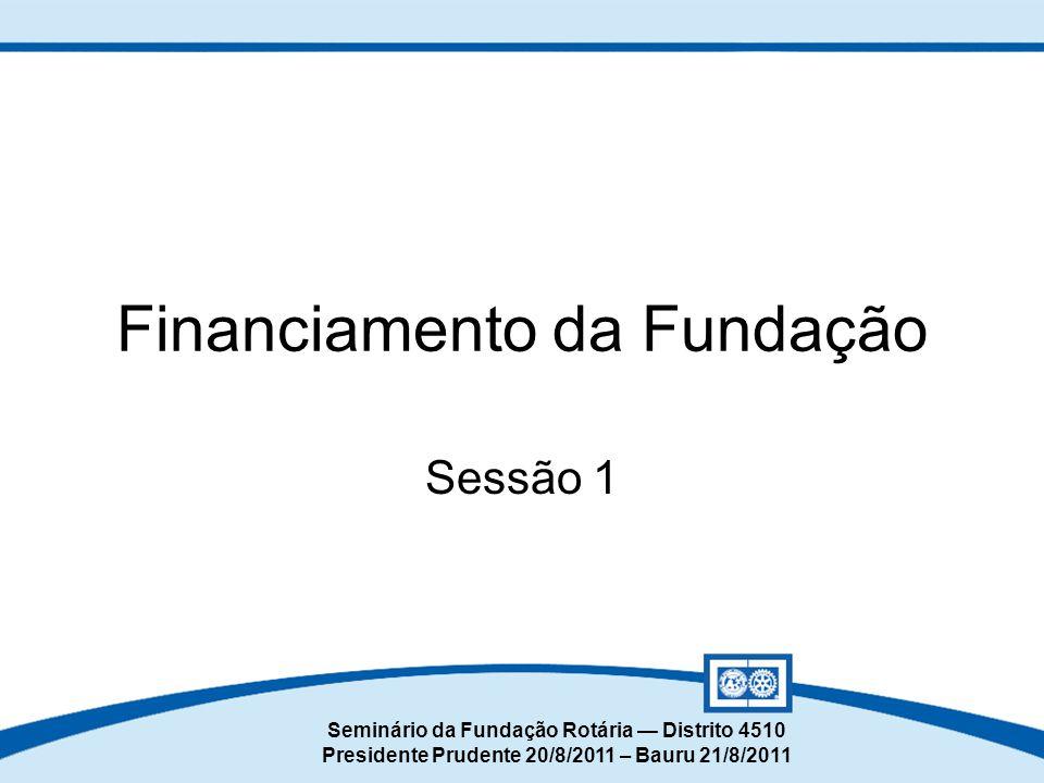 Seminário da Fundação Rotária — Distrito 4510 Presidente Prudente 20/8/2011 – Bauru 21/8/2011 Sessão 1 Financiamento da Fundação