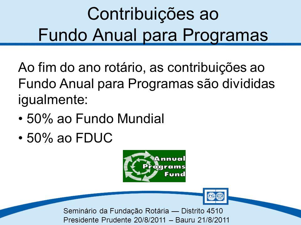 Seminário da Fundação Rotária — Distrito 4510 Presidente Prudente 20/8/2011 – Bauru 21/8/2011 Contribuições ao Fundo Anual para Programas Ao fim do an