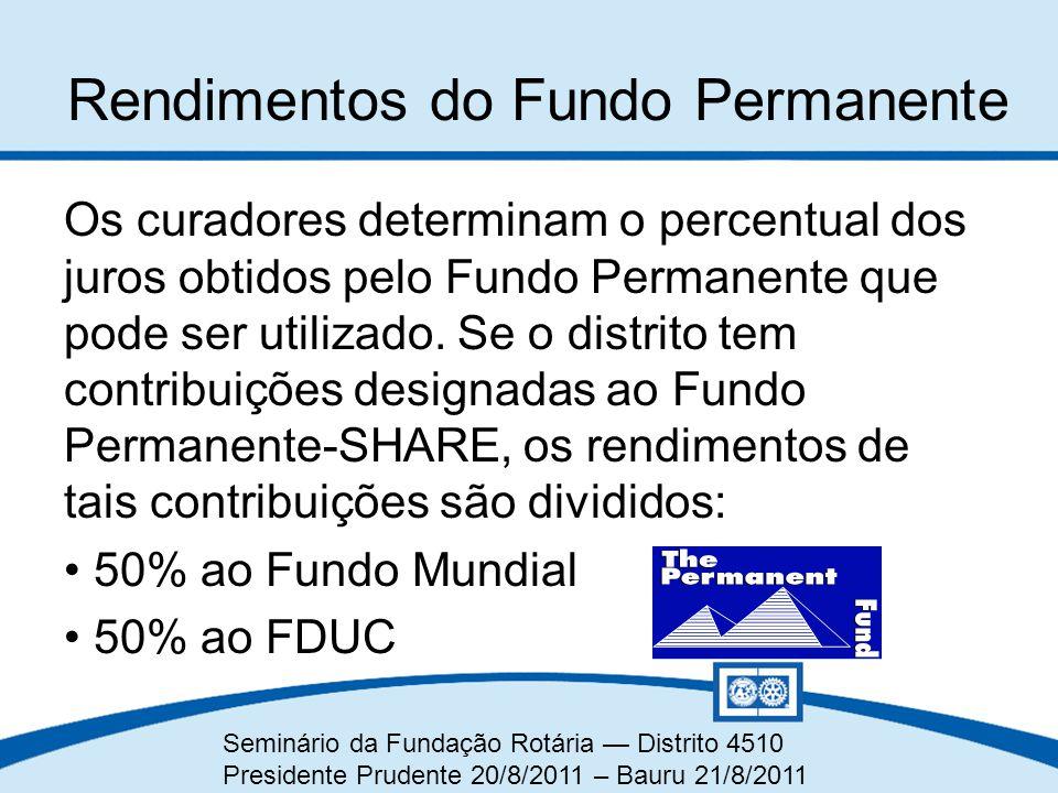 Seminário da Fundação Rotária — Distrito 4510 Presidente Prudente 20/8/2011 – Bauru 21/8/2011 Rendimentos do Fundo Permanente Os curadores determinam