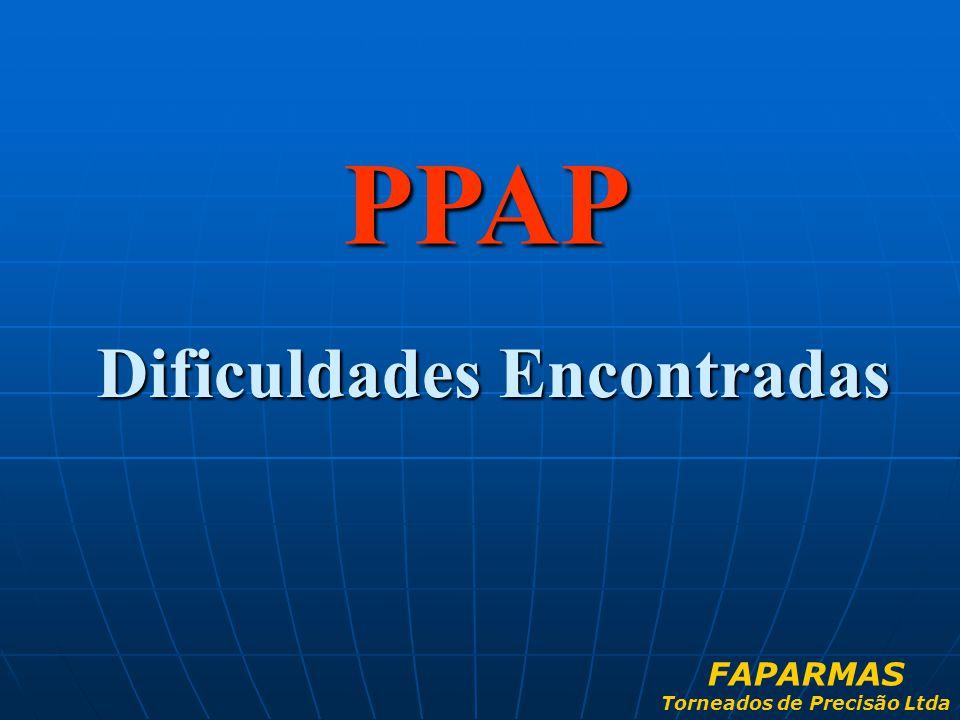 PPAP Dificuldades Encontradas FAPARMAS Torneados de Precisão Ltda