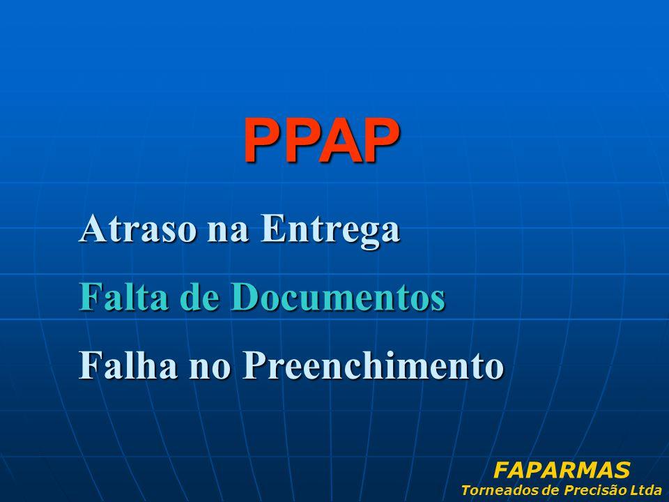 Atraso na Entrega PPAP Falta de Documentos Falha no Preenchimento FAPARMAS Torneados de Precisão Ltda