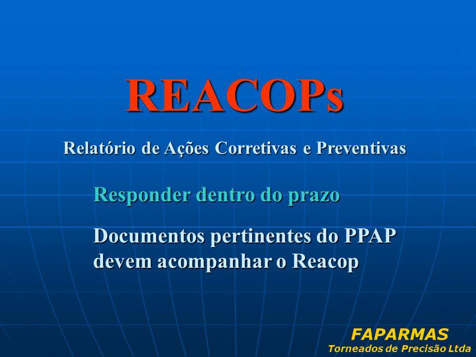 REACOPs Relatório de Ações Corretivas e Preventivas Responder dentro do prazo Documentos pertinentes do PPAP devem acompanhar o Reacop FAPARMAS Tornea