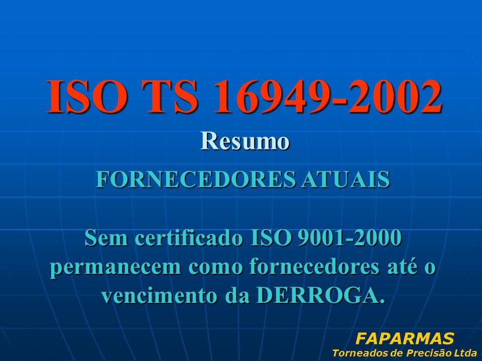 ISO TS 16949-2002 Resumo FORNECEDORES ATUAIS Sem certificado ISO 9001-2000 permanecem como fornecedores até o vencimento da DERROGA. FAPARMAS Torneado