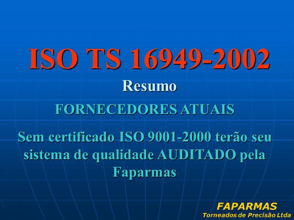 ISO TS 16949-2002 Resumo FORNECEDORES ATUAIS Sem certificado ISO 9001-2000 terão seu sistema de qualidade AUDITADO pela Faparmas FAPARMAS Torneados de