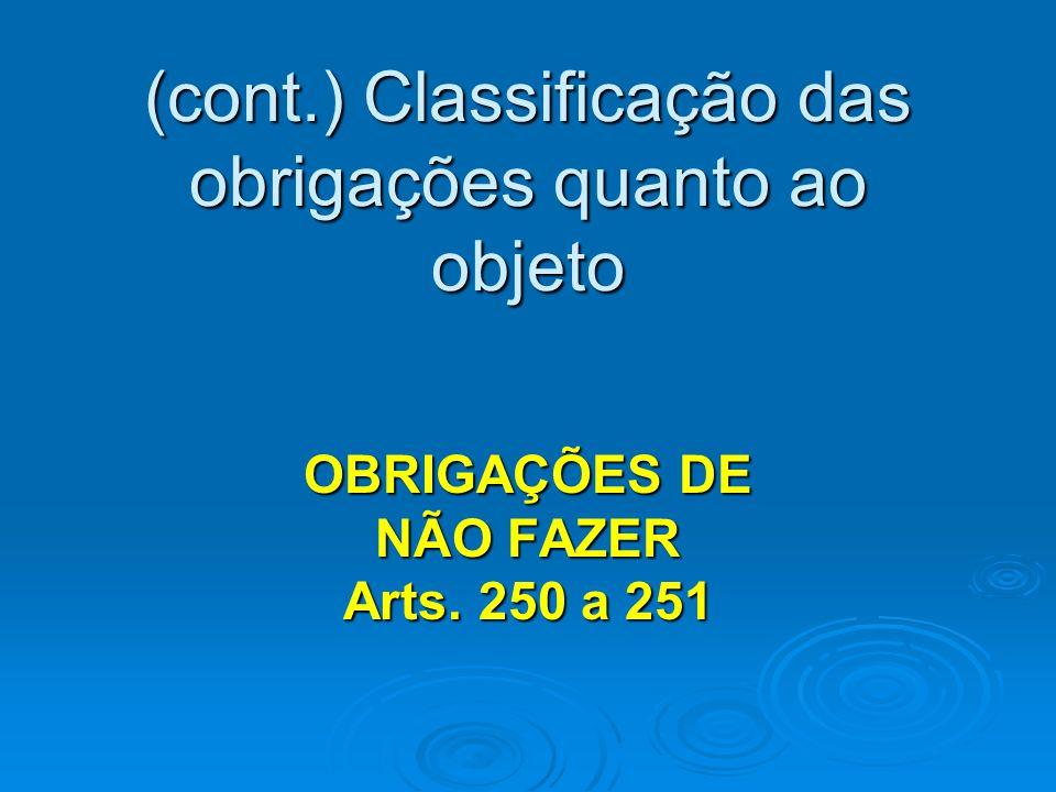 (cont.) Classificação das obrigações quanto ao objeto OBRIGAÇÕES DE NÃO FAZER Arts. 250 a 251