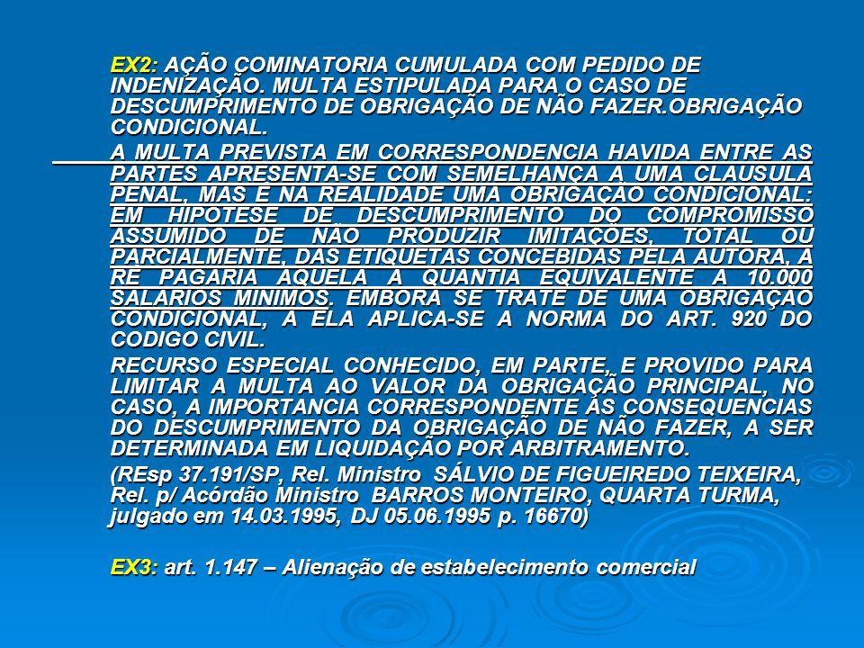 EX2: AÇÃO COMINATORIA CUMULADA COM PEDIDO DE INDENIZAÇÃO. MULTA ESTIPULADA PARA O CASO DE DESCUMPRIMENTO DE OBRIGAÇÃO DE NÃO FAZER.OBRIGAÇÃO CONDICION