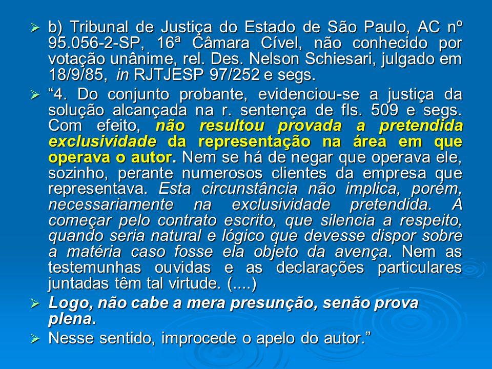  b) Tribunal de Justiça do Estado de São Paulo, AC nº 95.056-2-SP, 16ª Câmara Cível, não conhecido por votação unânime, rel.