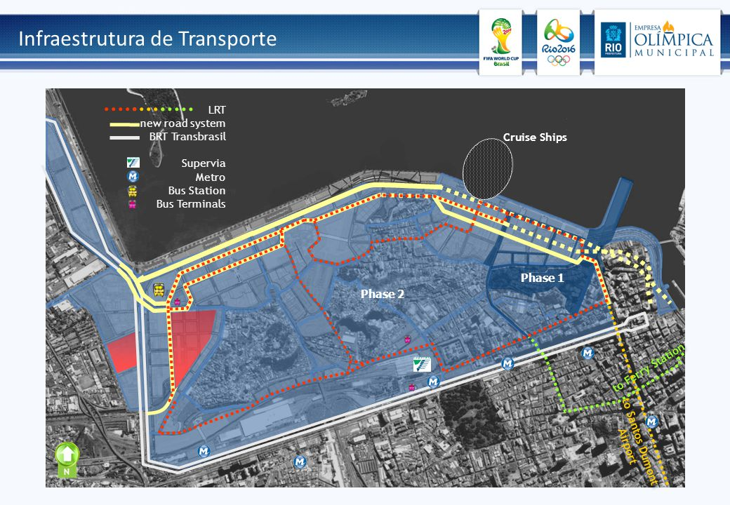 Infraestrutura de Transporte N Cruise Ships Phase 1 Phase 2 to Ferry Station to Santos Dumont Airport LRT new road system BRT Transbrasil Supervia Met