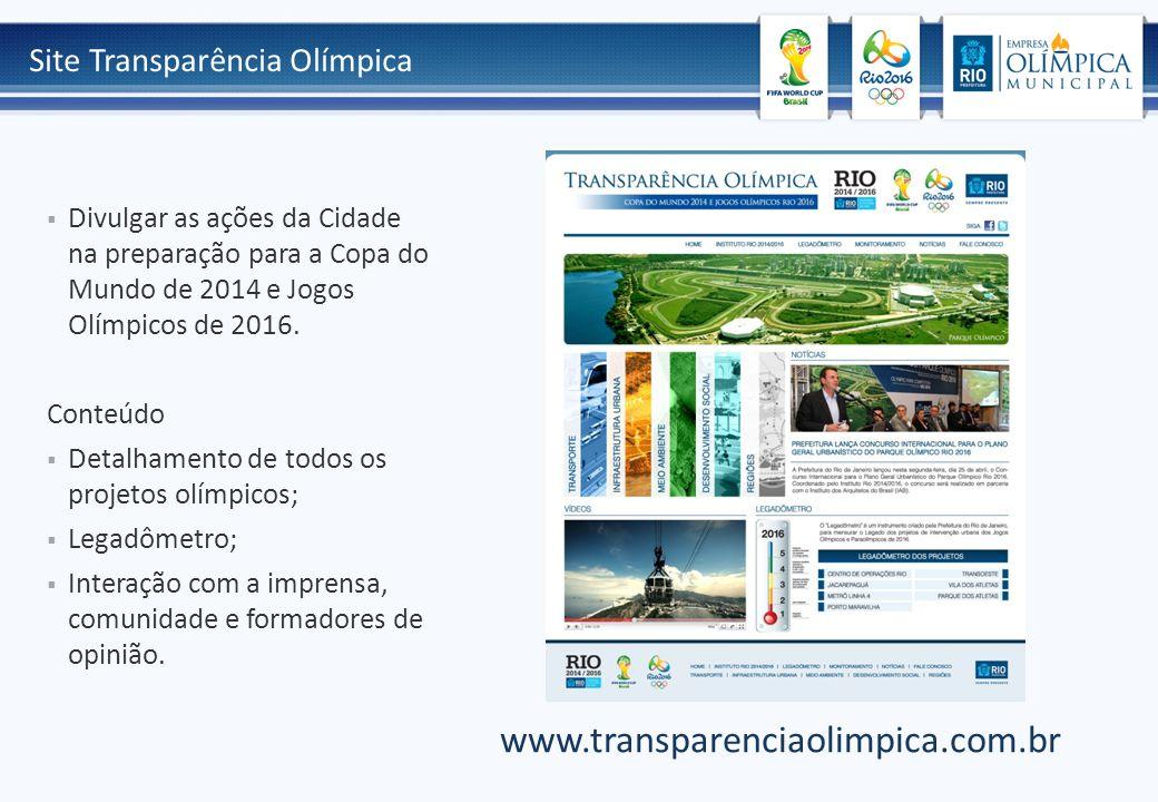 Site Transparência Olímpica  Divulgar as ações da Cidade na preparação para a Copa do Mundo de 2014 e Jogos Olímpicos de 2016. Conteúdo  Detalhament