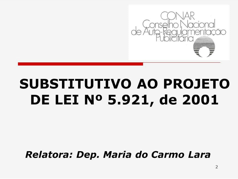 2 SUBSTITUTIVO AO PROJETO DE LEI Nº 5.921, de 2001 Relatora: Dep. Maria do Carmo Lara