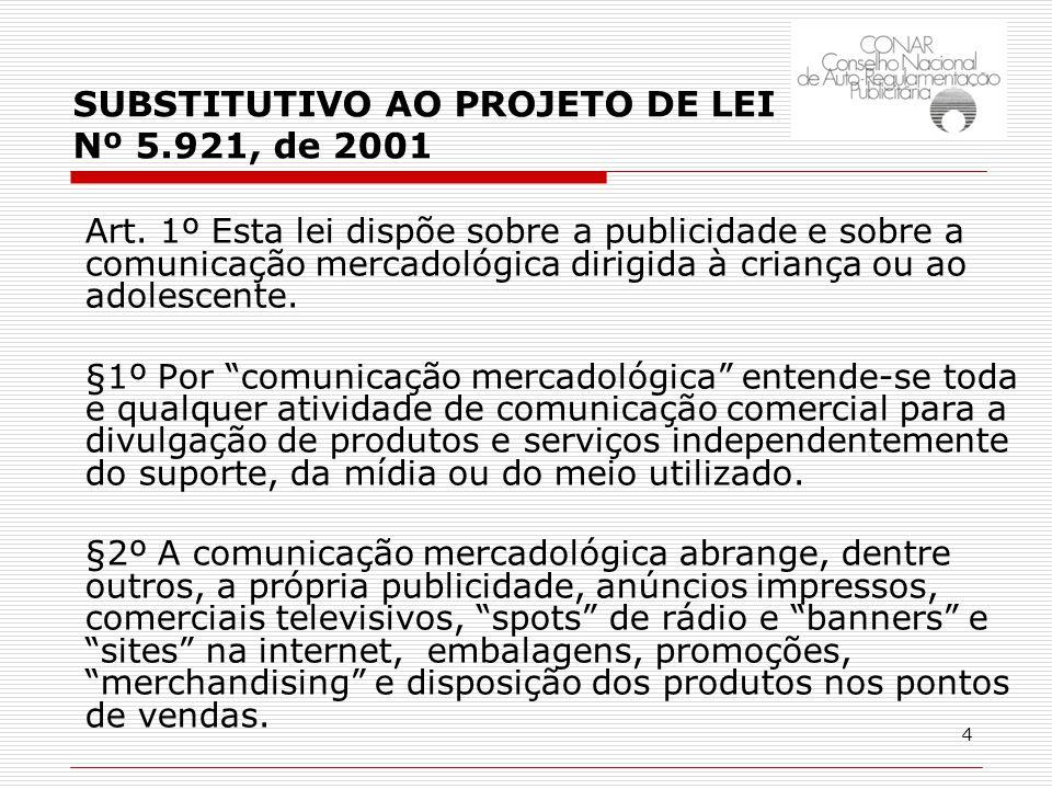 4 SUBSTITUTIVO AO PROJETO DE LEI Nº 5.921, de 2001 Art.