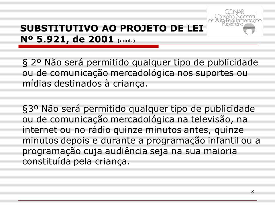 8 § 2º Não será permitido qualquer tipo de publicidade ou de comunicação mercadológica nos suportes ou mídias destinados à criança.