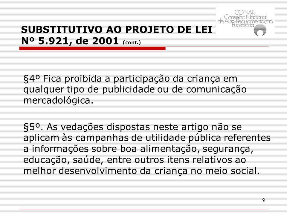 9 §4º Fica proibida a participação da criança em qualquer tipo de publicidade ou de comunicação mercadológica.