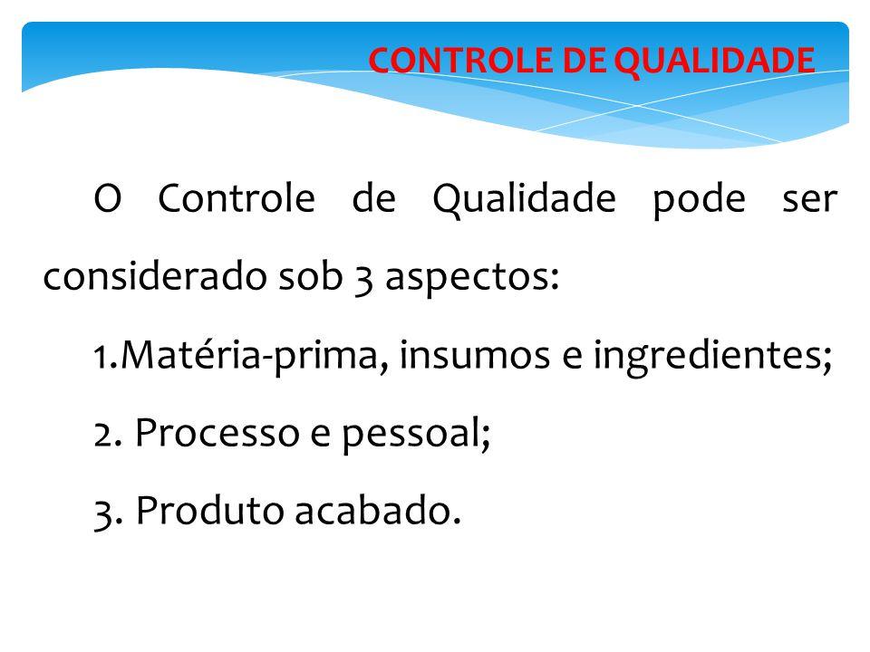 O Controle de Qualidade pode ser considerado sob 3 aspectos: 1.Matéria-prima, insumos e ingredientes; 2.